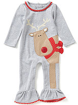 Mud Pie Baby Girls Newborn-12 Months Christmas Reindeer Applique Coverall