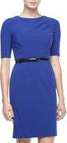 Ivy & Blu Bi-Stretch Belted Dress, Cobalt