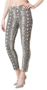Nicole Miller Soho Python-Print High-Rise Skinny Jeans