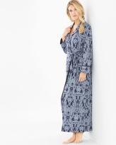 Soma Intimates Stormy Skies Long Jacquard Robe Slate Blue