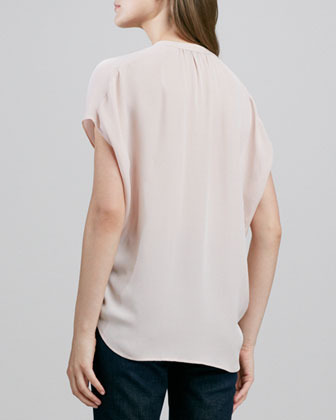Vince Cap-Sleeve Placket Silk Blouse, New Buff
