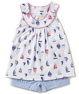 Starting Out Baby Girls 12-24 Months Sailboat Print Top & Chambray Shorts Set