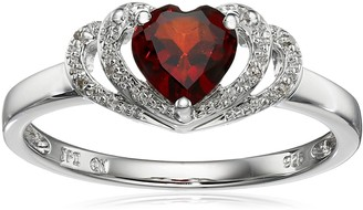 Amazon Collection Sterling Silver Garnet and Diamond Accent Open Halo Heart Ring Size 6