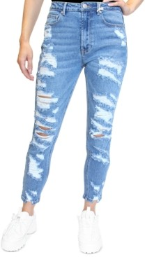 Almost Famous Crave Fame Juniors' Distressed Mom Jeans