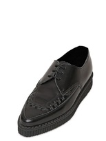 Underground Brushed Calfskin Pointy Lace-Up Shoes