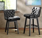 Pottery Barn Caldwell Tufted Leather Swivel Barstool