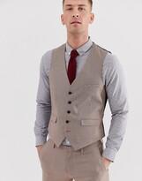 Burton Menswear wedding super skinny waistcoat in black and red dogtooth