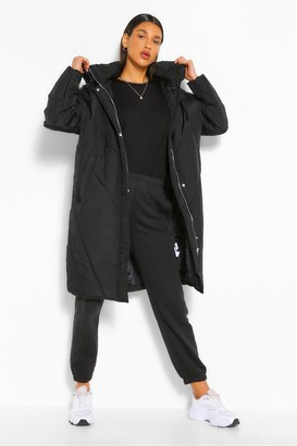 boohoo Longline Hooded Puffer Jacket