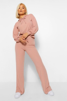 boohoo Petite Knitted Rib Hoody and Wide Leg Trousers