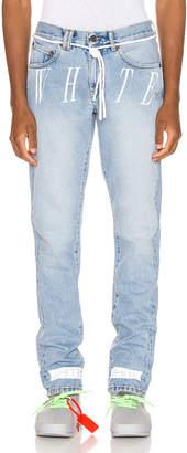 Off-White Off White Slim Denim Jean in Bleach Nikel   FWRD