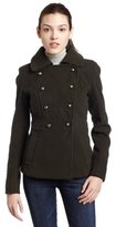 Amy Byer A. Byer Junior's Melton Double Breasted Button Tab Coat With Picks