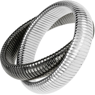 Janis Savitt High Polished Gunmetal and Rhodium Plated Double Cobra Bracelet