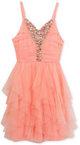 Rare Editions Embellished Cascade-Ruffle Party Dress, Big Girls (7-16)
