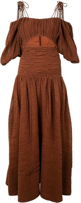Rachel Gilbert Sorrell balloon-sleeved crinkle maxi dress