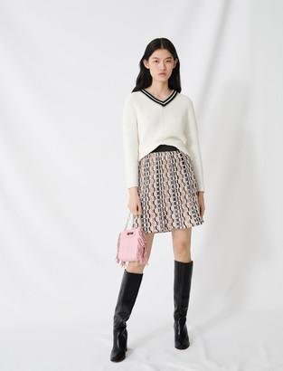 Maje V-neck sweater in decorative knit