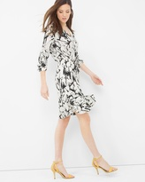 White House Black Market Contrast Print Drawstring Dress