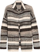 James Perse Striped Stretch-knit Cardigan - Gray