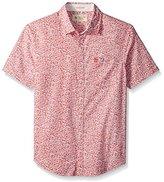 Original Penguin Men's Short Sleeve Printed Floral Crosshatch Shirt