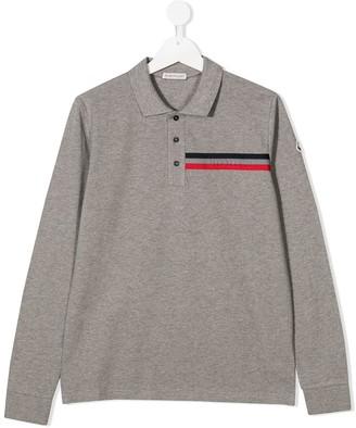 Moncler Enfant TEEN logo long-sleeve polo shirt