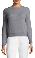 Qi Shaker Stitch Wool Cropped Sweater