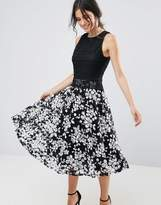 Yumi Contrast Lace Skater Dress