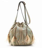 Patricia Nash Distressed Leather Collection Picerno Drawstring Cross-Body Bag with Feather Tassels