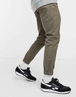 ASOS DESIGN tapered chino joggers in khaki