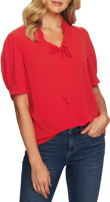 CeCe Ruffle Tie Neck Top