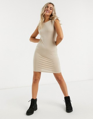 New Look shoulder pad T-shirt dress in stone