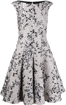 Talbot Runhof Jacquard Flared Dress