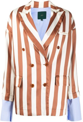 Jejia Stripe Double-Breasted Blazer