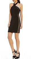 Jodi Kristopher Halter-Neck Illusion Inset Sheath Dress