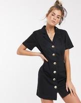 Asos Design DESIGN soft denim shirt dress in washed black