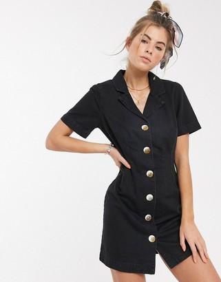Asos DESIGN soft denim shirt dress in washed black
