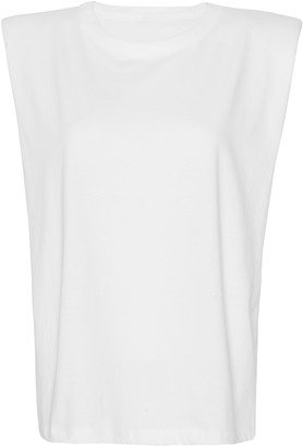 The Frankie Shop Eva Padded-Shoulder Cotton Muscle T-Shirt
