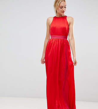 Little Mistress Tall contrast pleated maxi dress in pomegranate-Red