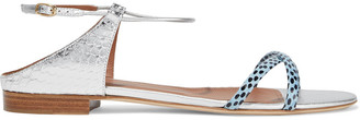 Malone Souliers Darlene Metallic Smooth And Snake-effect Leather And Elaphe Sandals