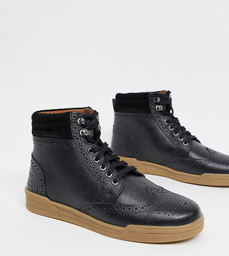 Original Penguin wide fit lace-up leather ankle boots in black