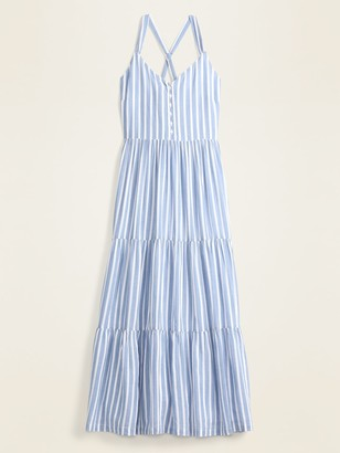 Old Navy Striped Fit & Flare Tiered Maxi Sundress for Women