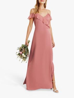 Oasis Ruffle Satin Maxi Dress, Pale Pink