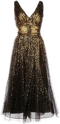 Marchesa Notte Sequin Embroidered Flared Dress
