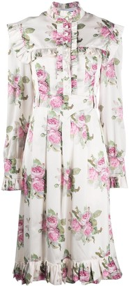 Paco Rabanne Rose-Print Ruffled Midi Dress