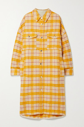 Etoile Isabel Marant Fontia Oversized Checked Wool-blend Flannel Coat - Ecru