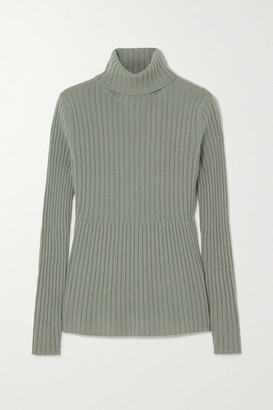 Allude Ribbed Cashmere Turtleneck Sweater - Sage green