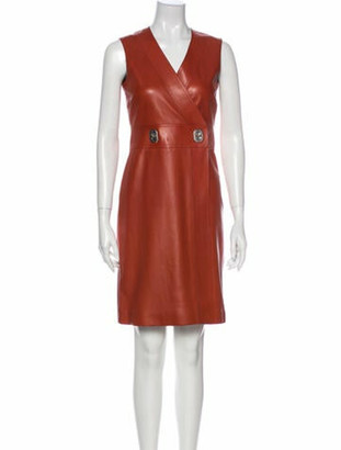 Gucci Lamb Leather Knee-Length Dress Brown