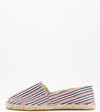 ASOS DESIGN Wide Fit espadrilles in mini stripe fabric