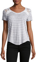 Madison & Berkeley Lace-Trim Striped Top, Gray