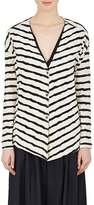 Pas De Calais Women's Striped Puckered Cotton-Blend Jersey Cardigan