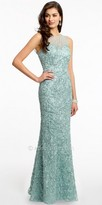 Camille La Vie Beaded Embroidered Soutache Mesh Evening Dress