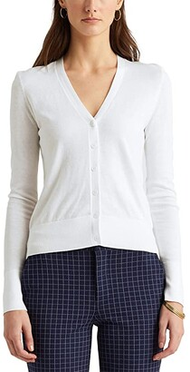 Lauren Ralph Lauren Cotton-Modal Cardigan Sweater (French Navy) Women's Clothing